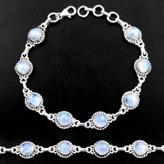 925 sterling silver 20.11cts natural rainbow moonstone tennis bracelet r40424