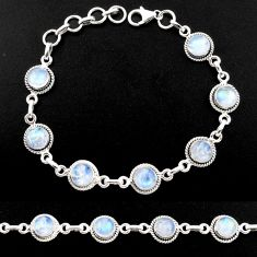 925 sterling silver 15.94cts natural rainbow moonstone tennis bracelet r40428
