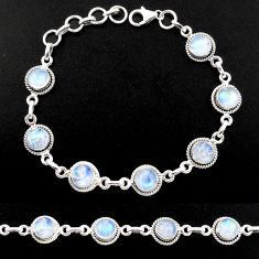 925 sterling silver 16.22cts natural rainbow moonstone tennis bracelet r40432