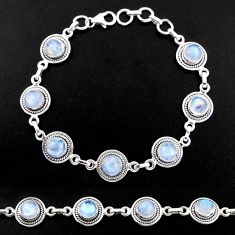 925 sterling silver 16.47cts natural rainbow moonstone tennis bracelet r40454
