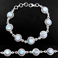 925 sterling silver 16.73cts natural rainbow moonstone tennis bracelet r40458