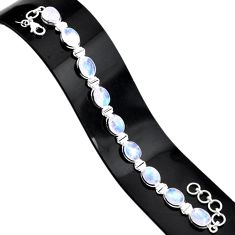 925 sterling silver 37.43cts natural rainbow moonstone tennis bracelet r84336