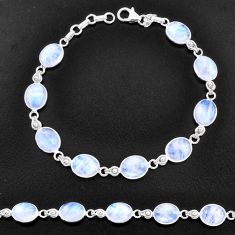 925 sterling silver 30.49cts natural rainbow moonstone tennis bracelet t14744