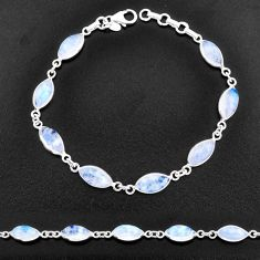 925 sterling silver 22.48cts natural rainbow moonstone tennis bracelet t14748