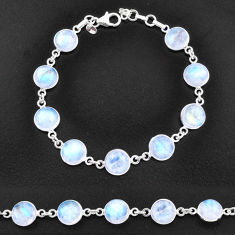 925 sterling silver 30.49cts natural rainbow moonstone tennis bracelet t14752