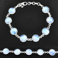 925 sterling silver 29.34cts natural rainbow moonstone tennis bracelet t14756