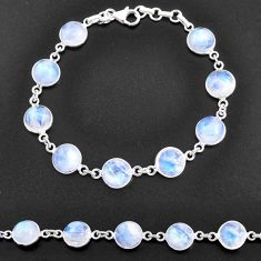 925 sterling silver 33.32cts natural rainbow moonstone tennis bracelet t14764