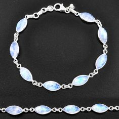 925 sterling silver 23.46cts natural rainbow moonstone tennis bracelet t14772