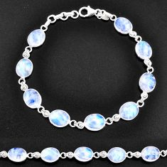 925 sterling silver 32.16cts natural rainbow moonstone tennis bracelet t14776
