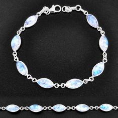 925 sterling silver 25.14cts natural rainbow moonstone tennis bracelet t14779