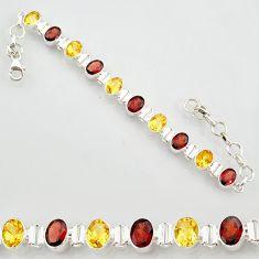 925 sterling silver 20.22cts natural red garnet citrine tennis bracelet r87076