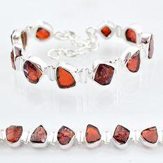 925 sterling silver 38.92cts natural red garnet raw tennis bracelet t6704