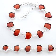 925 sterling silver 34.96cts natural red garnet raw tennis bracelet t7774