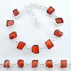 925 sterling silver 32.71cts natural red garnet raw tennis bracelet t7778