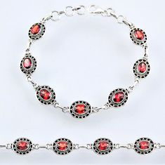 925 sterling silver 11.00cts natural red garnet tennis bracelet jewelry r54971