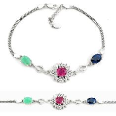 925 sterling silver 11.95cts natural red ruby sapphire emerald bracelet c19721