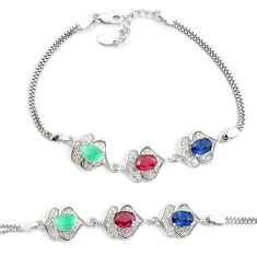 925 sterling silver 11.22cts natural red ruby sapphire emerald bracelet c19735