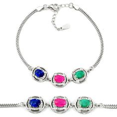 925 sterling silver natural red ruby sapphire tennis bracelet jewelry c25927