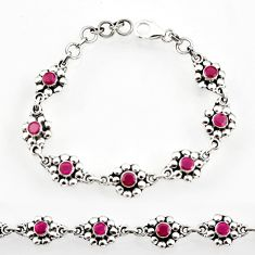 925 sterling silver 2.76cts natural red ruby tennis bracelet jewelry d44279