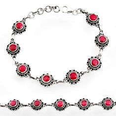Clearance Sale- 925 sterling silver 6.75cts natural red ruby tennis bracelet jewelry d44503