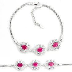 925 sterling silver 8.43cts natural red ruby topaz tennis bracelet c19798