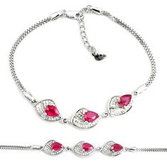 925 sterling silver 7.13cts natural red ruby white topaz tennis bracelet c19792