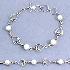 925 sterling silver 10.44cts natural white pearl round bracelet jewelry t8471