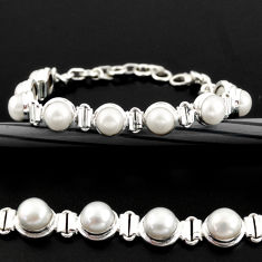 925 sterling silver 25.89cts natural white pearl tennis bracelet r38949