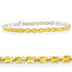 925 sterling silver 26.79cts natural yellow citrine oval tennis bracelet t12293
