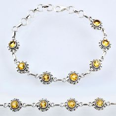 925 sterling silver 6.29cts natural yellow citrine round tennis bracelet r54941