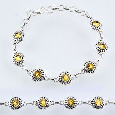 925 sterling silver 6.37cts natural yellow citrine round tennis bracelet r54983