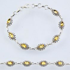 925 sterling silver 7.91cts natural yellow citrine tennis bracelet r55004