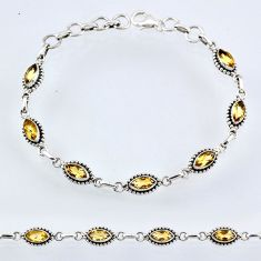 925 sterling silver 8.78cts natural yellow citrine tennis bracelet r55050