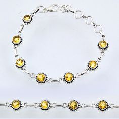 925 sterling silver 6.30cts natural yellow citrine tennis bracelet r55060