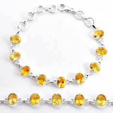 925 sterling silver 18.35cts natural yellow citrine tennis bracelet r94044