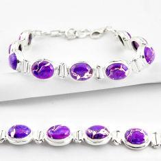 925 sterling silver 35.81cts purple copper turquoise tennis bracelet r38844