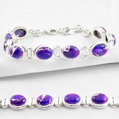 925 sterling silver 36.14cts purple copper turquoise tennis bracelet r38853