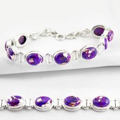 925 sterling silver 35.83cts purple copper turquoise tennis bracelet r38859
