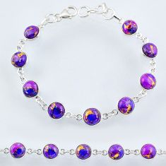 925 sterling silver 22.48cts purple copper turquoise tennis bracelet r55119