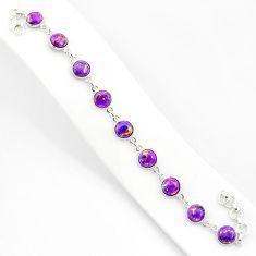 925 sterling silver 20.88cts purple copper turquoise tennis bracelet r84931