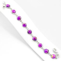 925 sterling silver 20.88cts purple copper turquoise tennis bracelet r84937