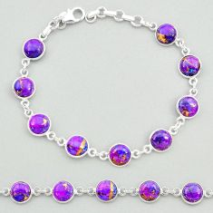 925 sterling silver 20.05cts purple copper turquoise tennis bracelet t19639