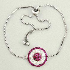 925 sterling silver 5.53cts red ruby (lab) topaz adjustable bracelet c9684