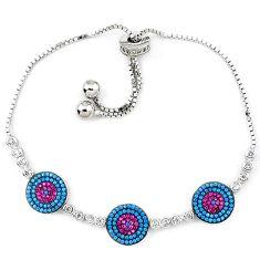 925 sterling silver red ruby quartz turquoise bracelet adjustable c17028