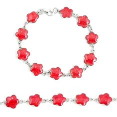 925 sterling silver 5.69gms sponge coral enamel tennis bracelet a94906 c13871