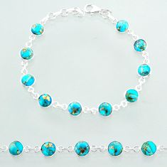 925 sterling silver 18.95cts tennis blue copper turquoise round bracelet t40415