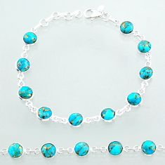 925 sterling silver 17.91cts tennis blue copper turquoise round bracelet t40418