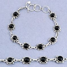 925 sterling silver 16.42cts tennis natural black onyx bracelet jewelry t8415