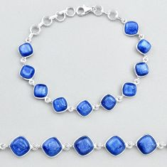 925 sterling silver 31.47cts tennis natural blue kyanite bracelet jewelry t48711