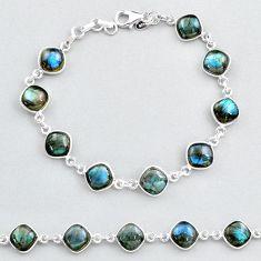 925 sterling silver 26.54cts tennis natural blue labradorite bracelet t48758